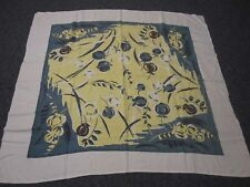 VTG COTTON TABLECLOTH w SLATE BLUE YELLOW POPPY FLOWER SEED PODS LEAF TABLECLOTH