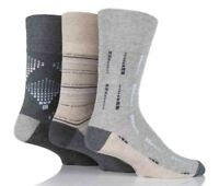 3 Pairs Mens Grey Beige Multi Square Pattern Gentle Grip Cotton Socks, Size 6-11