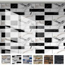 12pcs Glossy Mosaic Wall Tile Sticker Waterproof Kitchen Bathroom Self-Adhesive