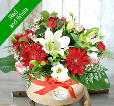 Fresh Flowers Delivery Sydney- Stylish Hatbox- Red & White- Mother's Day Flowers