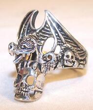 1 DELUXE DRAGON  HOLDING SKULL SILVER BIKER RING BR59 mens NEW jewelry SKELETON