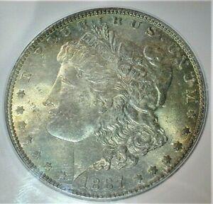 1887 USA Morgan Silver Dollar ICG MS64 Condition Toning KM# 110  (391)