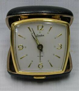Vintage Linden Wind Up Black Travel Alarm Clock. Green Glow-In-The-Dark