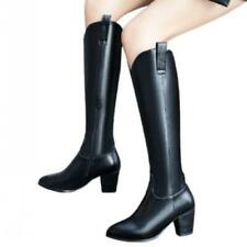 Women Pull On Chunky Heel Pointy Toe Office Work Casual Knee High Boots 44/46 D