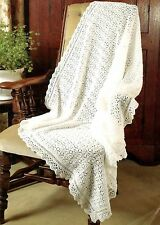 """Baby Shawl in 3ply Knitting Pattern with centre and lace edge  48x48""""  879"""