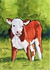 """5""""X7"""" Original oil Painting of a Hereford Calf by Ty Livingston"""