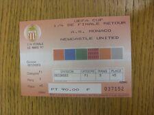 18/03/1997 Ticket: Monaco v Newcastle United [UEFA Cup] (creased). Trusted selle