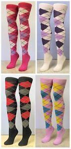 OTK Multicoloured Argyle Over the Knee Diamond Pub Golf Socks Sports Fancy Dress