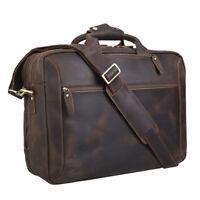 """Retro Men Leather Backpack Briefcase 16"""" Laptop Bag Messenger School Bag Handbag"""