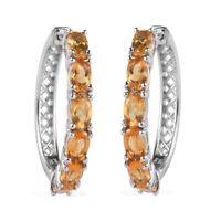 Platinum Over 925 Sterling Silver Citrine Hoops Hoop Earrings Jewelry Ct 2.6
