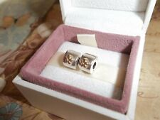 Genuine Authentic Pandora Silver & 14ct Gold Flower Clip Charms PAIR 790140