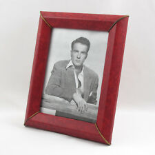 Vintage French Red Faux Leather Pattern Picture Photo Frame