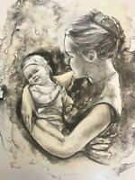 """Joan Purcell Lithograph Mother & Child Hand Signed Artist Proof 23.25"""" x 19.25"""""""
