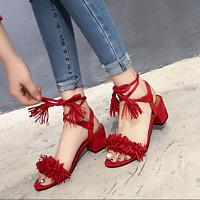 Womens Ankle Strap Tassel Fringe Sandals Chunky Heel Cross Shoes Open Toe