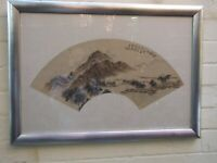 Antique Japanese Watercolour Landscape Painting Signed & Sealed Silver Frame VGC