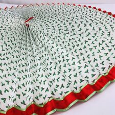 Vintage Pleated Christmas Tree Skirt Rosette Hand Made Holly Fabric