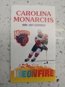 1996-1997 Carolina Monarchs Pocket Schedule AHL Florida Panthers Affiliate