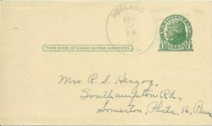 1950 1 Cent JEFFERSON PREPAID POSTAL CARD HOLLAND PA to SOMERTON PHILADELPHIA PA