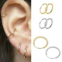Chic 3Pair Stainless Steel Tube Ear Hoop Sleeper Circle Earring Simple Jewelry