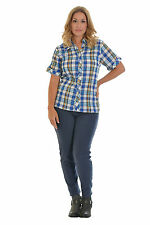Hip Length Collared No Striped Tops & Shirts for Women