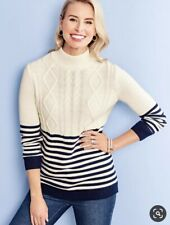 $99 NWT TALBOTS WOMEN COTTON CASHMERE FISHERMAN NAVY STRIPE SWEATER SIZE M