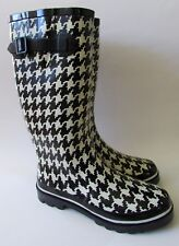 NEW Talbots Black & White Houndstooth Check Rubber Boots Sz 8