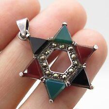 Vtg 925 Sterling Silver Real Multicolor Gemstone Star of David Pendant