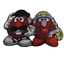 """DISNEY'S TOY STORY MR & MRS POTATO  HEAD 3 1/2""""X 2"""" EMBROIDERED PATCH"""