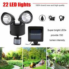 LED Dual Solar Powered Motion Sensor Floodlight Outdoor Security Spot Light New