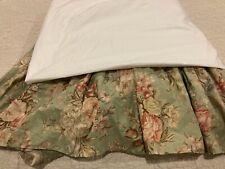 Ralph Lauren Charlotte Queen Bed Skirt/Dust Ruffle Green Floral