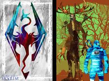 Skyrim The Witcher Gamer Art 2 print LOT 11 x 17 High Quality Poster