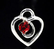 10 SILVER PLATED RED RHINESTONE HEART CHARM PENDANT ~ TOPPERS ~ SCRAPBOOK (85A)