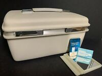 Vintage SAMSONITE SATURN Cosmetic Beauty Case Luggage~Misty White WITH KEY~