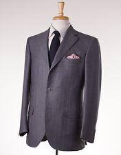 NWT $6400 BRIONI Medium Gray Stripe Wool-Cashmere-Silk Suit 40 R Flat-Front