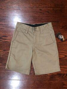 NWT$30 Volcom Boys Chino Khaki Shorts Size 22 25 26 28 29