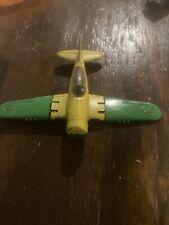 Vintage Hubley Kiddie Toy Die-cast Plane Folding Wings / Wheels Green / Yellow