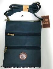 1x Australian Souvenir Travel Bags 3 Zipper Compartment Blue Kangaroo Australia