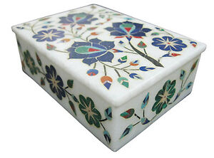 White Marble Jewelry Ring Box Lapis Gems Mosaic Marquetry Inlay Work Gifts H1889