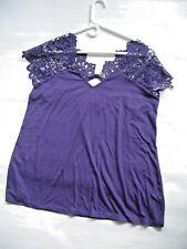 S M Y S Cutwork Lace Trim Shirt Deep Purple Size XL