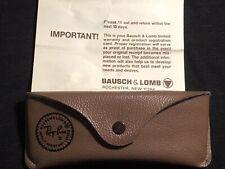 Vintage BAUSCH & LOMB Ray-Ban SUNGLASSES CASE Tan w/Warranty Card