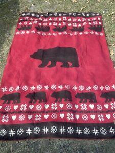 VGC Lexington Company Holiday Adirondack Bear Red Throw Blanket 60 % Wool £139