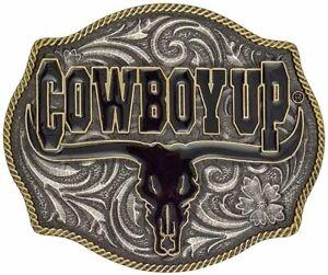 "Montana Silversmiths Men's ""Cowboy Up"" Longhorn Attitude Buckle - A354"