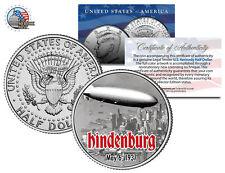 HINDENBURG LZ-129 AIRSHIP * Flying Over NYC * Kennedy Half Dollar U.S. Coin