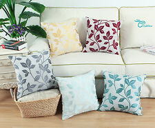 Embroidered Leaves Poly Linen Blend Cushion Covers Pillow Shells Home Decor 45cm
