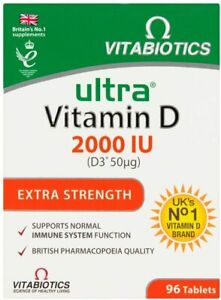 VITABIOTICS ULTRA VITAMIN D  2000IU ( D3*50MG)  EXTRA STRENGTH - 96 TABLETS
