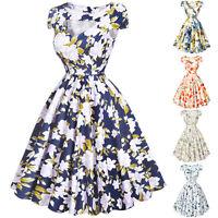 Vintage floral 50s 60s Pinup Swing Evening Retro JIVE TEA Party Dress