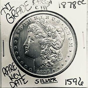 1878 CC MORGAN SILVER DOLLAR HI GRADE GENUINE U.S. MINT RARE KEY COIN 1596