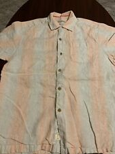 TOMMY BAHAMA 100% Linen Original Fit Pink White Mens Buttom Down Shrit Small S