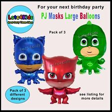 PJ MASKS CATBOY OWLETTE GEKKO LARGE PARTY BALLOONS PARTY DECORATIONS- PACK OF 3