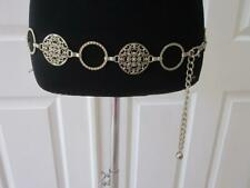 Ladies Silver Metal Circle & Filagree Chain Belt fits up to 38